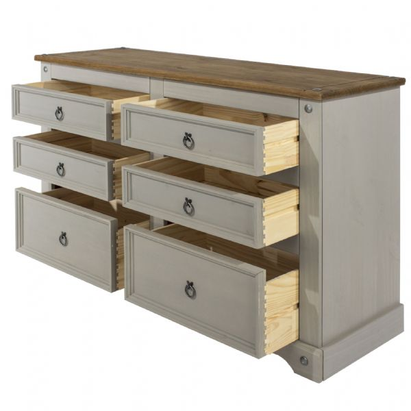 Corona Grey Wash 3 by 3 Chest with Natural Solid Pine Top